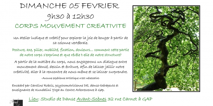 Caroline vous propose un stage Corps-Mouvement-Créativité le 5 février