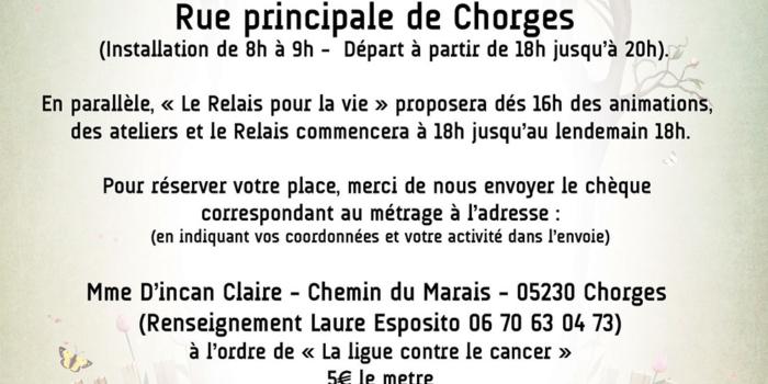 Claire organise un marché au profit de la ligue contre le cancer !
